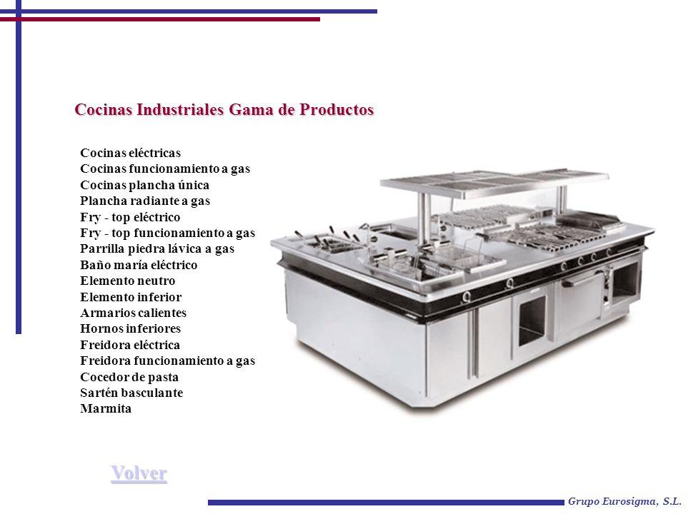 Grupo Eurosigma, S.L. Cocinas Industriales Gama de Productos Cocinas eléctricas Cocinas funcionamiento a gas Cocinas plancha única Plancha radiante a