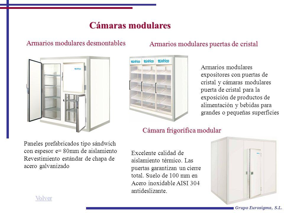 Cámaras modulares Grupo Eurosigma, S.L. Paneles prefabricados tipo sándwich con espesor e= 80mm de aislamiento Revestimiento estándar de chapa de acer