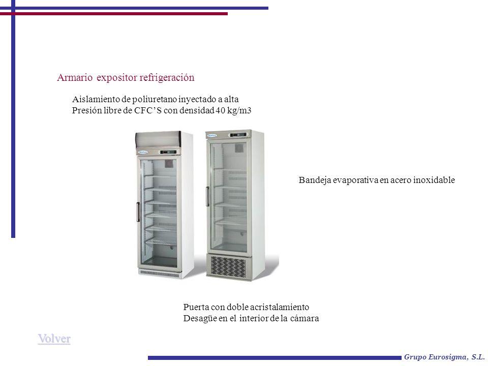 Armario expositor refrigeración Grupo Eurosigma, S.L. Aislamiento de poliuretano inyectado a alta Presión libre de CFCS con densidad 40 kg/m3 Bandeja
