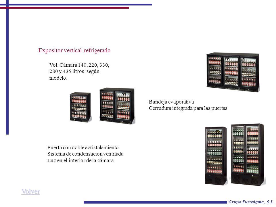 Expositor vertical refrigerado Vol. Cámara 140, 220, 330, 280 y 435 litros según modelo. Grupo Eurosigma, S.L. Puerta con doble acristalamiento Sistem