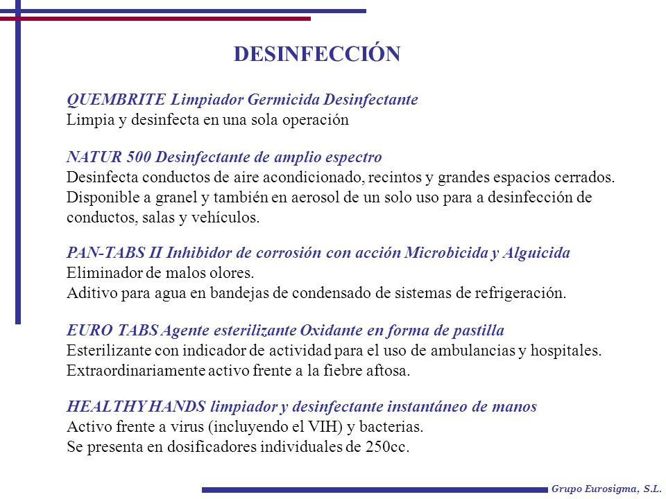 Grupo Eurosigma, S.L. DESINFECCIÓN QUEMBRITE Limpiador Germicida Desinfectante Limpia y desinfecta en una sola operación NATUR 500 Desinfectante de am