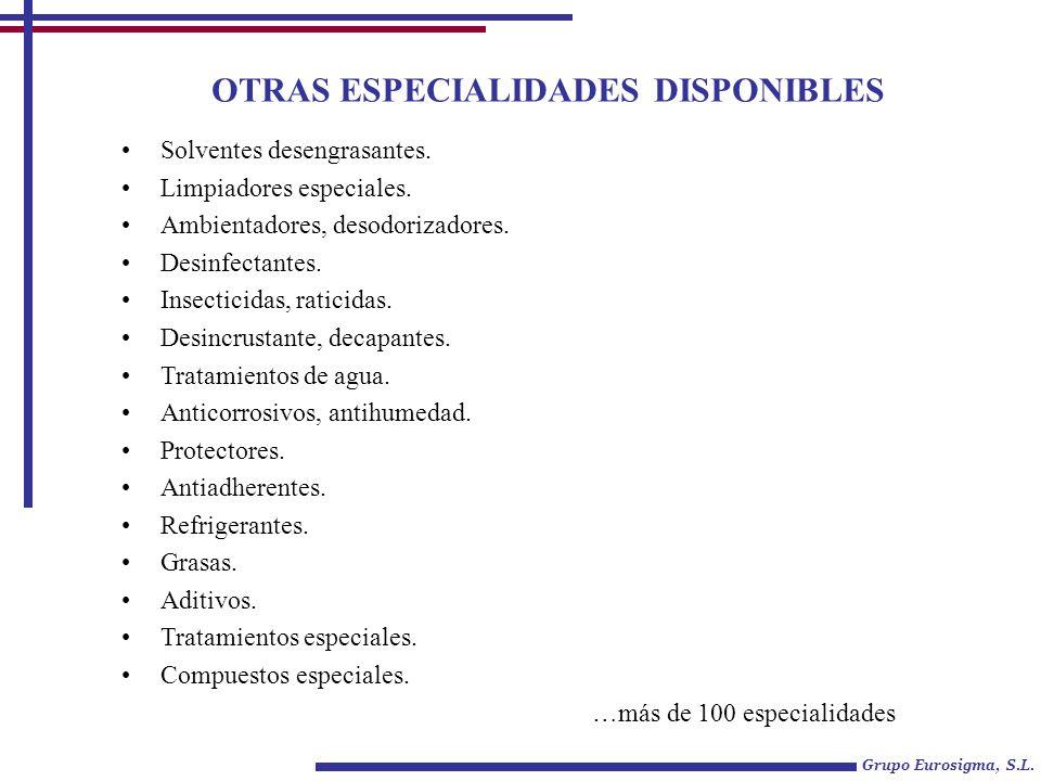 Solventes desengrasantes. Limpiadores especiales. Ambientadores, desodorizadores. Desinfectantes. Insecticidas, raticidas. Desincrustante, decapantes.