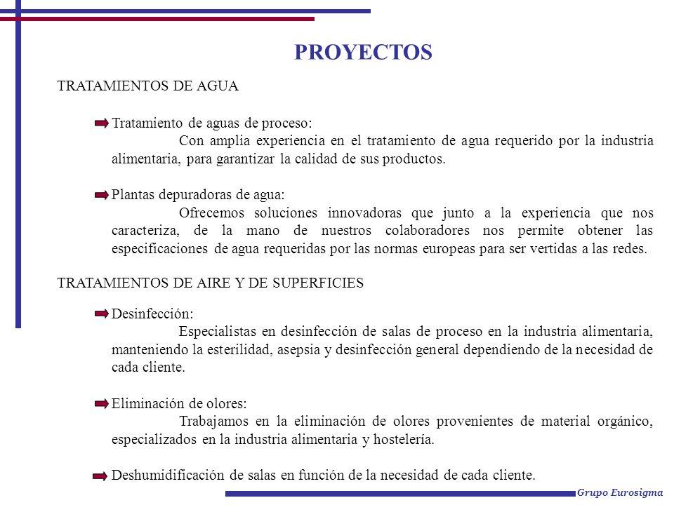 PROYECTOS TRATAMIENTOS DE AGUA Tratamiento de aguas de proceso: Con amplia experiencia en el tratamiento de agua requerido por la industria alimentari