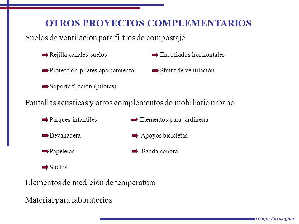 OTROS PROYECTOS COMPLEMENTARIOS Suelos de ventilación para filtros de compostaje Rejilla canales suelos Encofrados horizontales Protección pilares apa