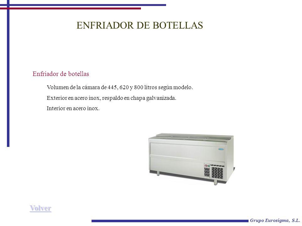 ENFRIADOR DE BOTELLAS Enfriador de botellas Volumen de la cámara de 445, 620 y 800 litros según modelo.