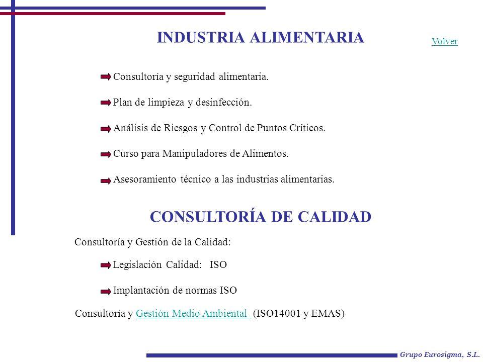 INDUSTRIA ALIMENTARIA Grupo Eurosigma, S.L. Consultoría y seguridad alimentaria. Plan de limpieza y desinfección. Análisis de Riesgos y Control de Pun