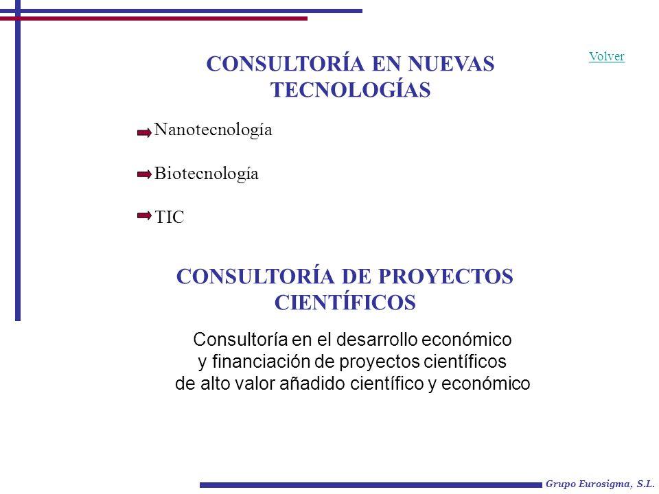 CONSULTORÍA EN NUEVAS TECNOLOGÍAS Grupo Eurosigma, S.L. Nanotecnología Biotecnología TIC CONSULTORÍA DE PROYECTOS CIENTÍFICOS Volver Consultoría en el