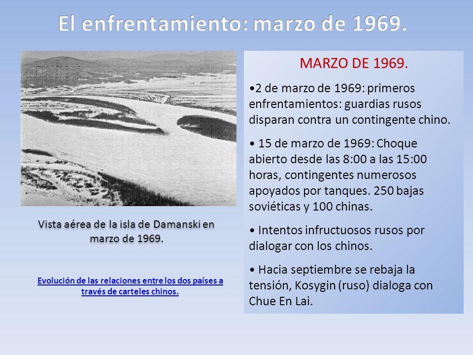 Vista aérea de la isla de Damanski en marzo de 1969. MARZO DE 1969. 2 de marzo de 1969: primeros enfrentamientos: guardias rusos disparan contra un co
