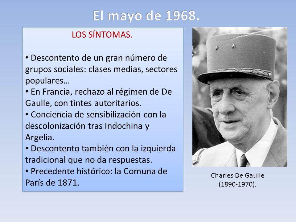 LOS SÍNTOMAS. Descontento de un gran número de grupos sociales: clases medias, sectores populares… En Francia, rechazo al régimen de De Gaulle, con ti