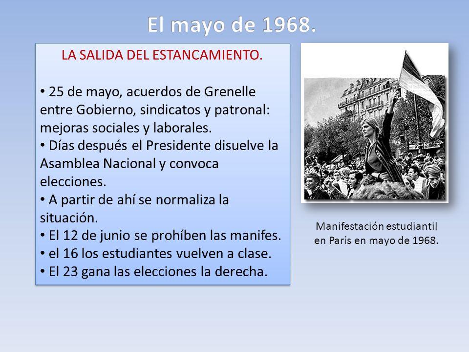 LA SALIDA DEL ESTANCAMIENTO. 25 de mayo, acuerdos de Grenelle entre Gobierno, sindicatos y patronal: mejoras sociales y laborales. Días después el Pre