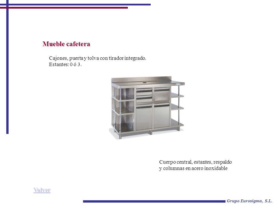 Mueble cafetera Grupo Eurosigma, S.L. Cajones, puerta y tolva con tirador integrado. Estantes: 0 ó 3. Cuerpo central, estantes, respaldo y columnas en