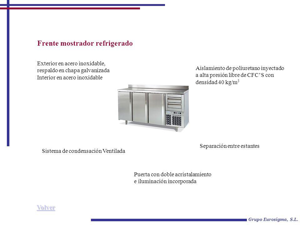 Frente mostrador refrigerado Grupo Eurosigma, S.L. Exterior en acero inoxidable, respaldo en chapa galvanizada Interior en acero inoxidable Sistema de