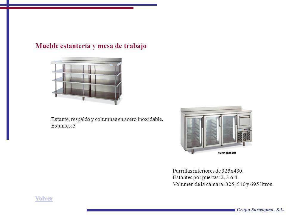 Mueble estantería y mesa de trabajo Grupo Eurosigma, S.L. Parrillas interiores de 325x430. Estantes por puertas: 2, 3 ó 4. Volumen de la cámara: 325,