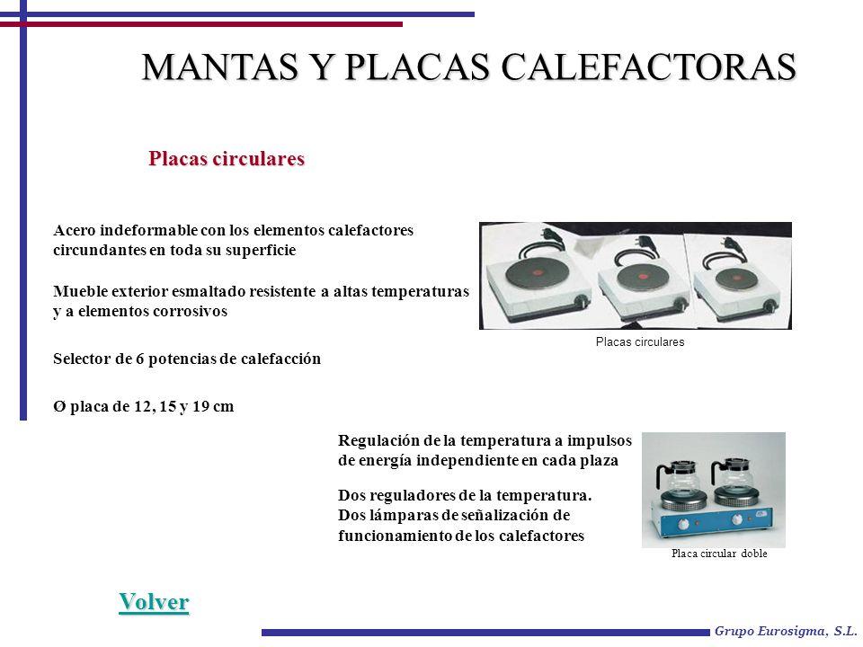 Grupo Eurosigma, S.L. MANTAS Y PLACAS CALEFACTORAS Placas circulares Acero indeformable con los elementos calefactores circundantes en toda su superfi