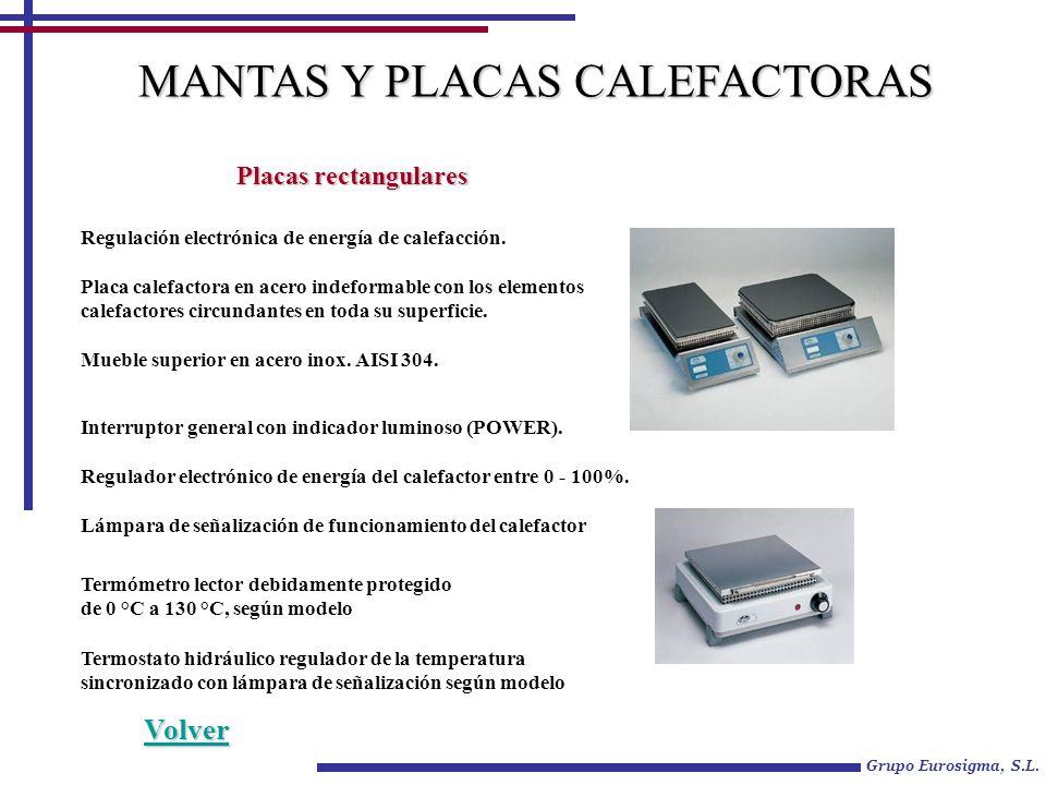 Grupo Eurosigma, S.L. MANTAS Y PLACAS CALEFACTORAS Placas rectangulares Regulación electrónica de energía de calefacción. Placa calefactora en acero i