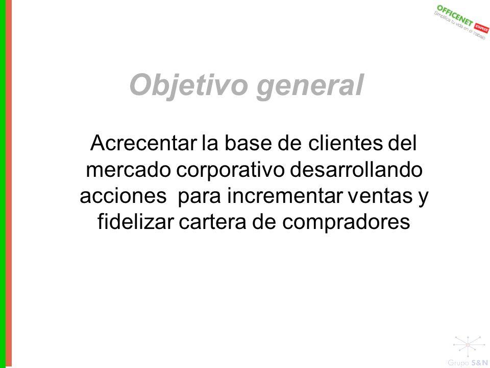 Objetivo general Acrecentar la base de clientes del mercado corporativo desarrollando acciones para incrementar ventas y fidelizar cartera de compradores