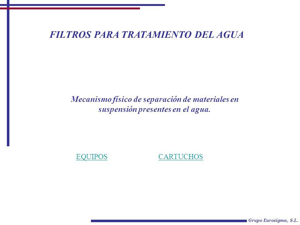 FILTROS PARA TRATAMIENTO DEL AGUA Grupo Eurosigma, S.L. EQUIPOSCARTUCHOS Mecanismo físico de separación de materiales en suspensión presentes en el ag