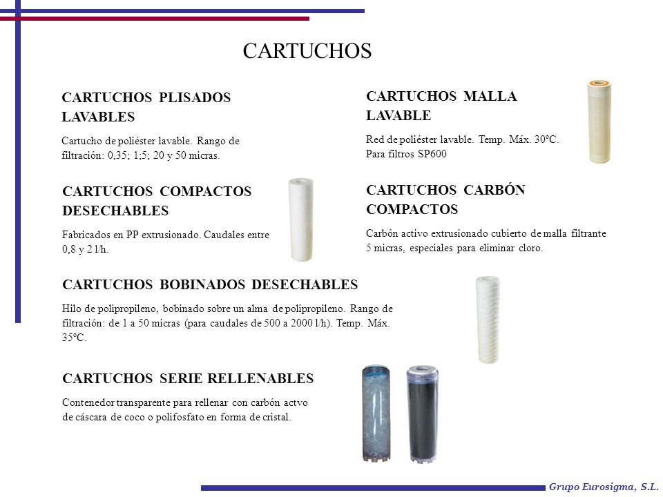 CARTUCHOS CARTUCHOS PLISADOS LAVABLES Cartucho de poliéster lavable. Rango de filtración: 0,35; 1;5; 20 y 50 micras. CARTUCHOS MALLA LAVABLE Red de po