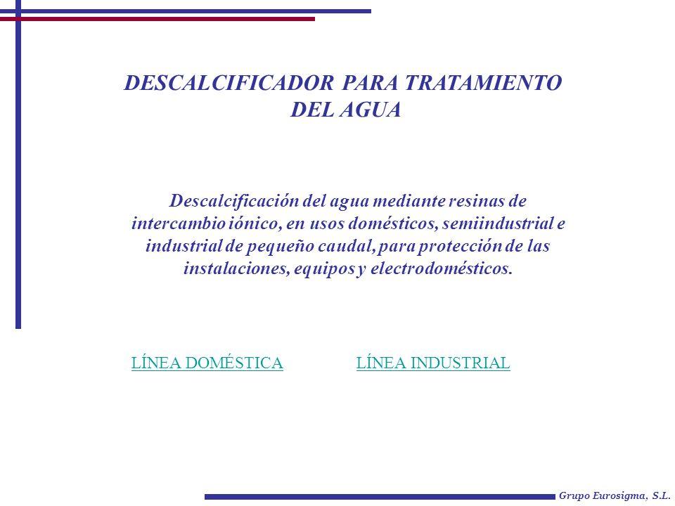 DESCALCIFICADOR PARA TRATAMIENTO DEL AGUA Grupo Eurosigma, S.L. LÍNEA DOMÉSTICALÍNEA INDUSTRIAL Descalcificación del agua mediante resinas de intercam