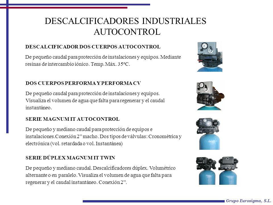 DESCALCIFICADORES INDUSTRIALES AUTOCONTROL DESCALCIFICADOR DOS CUERPOS AUTOCONTROL De pequeño caudal para protección de instalaciones y equipos. Media