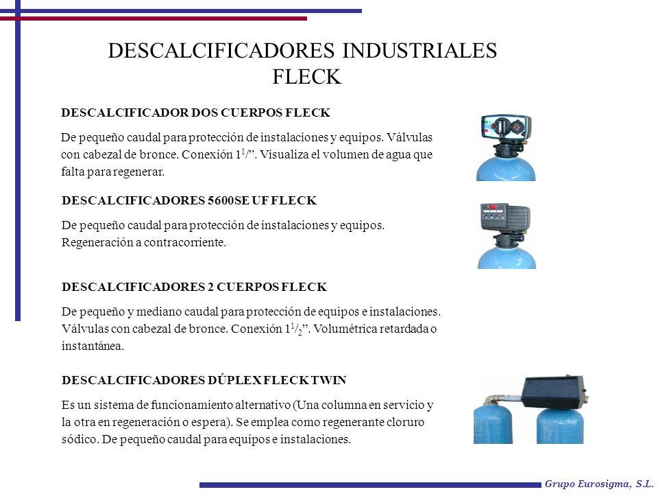 DESCALCIFICADORES INDUSTRIALES FLECK DESCALCIFICADOR DOS CUERPOS FLECK De pequeño caudal para protección de instalaciones y equipos. Válvulas con cabe