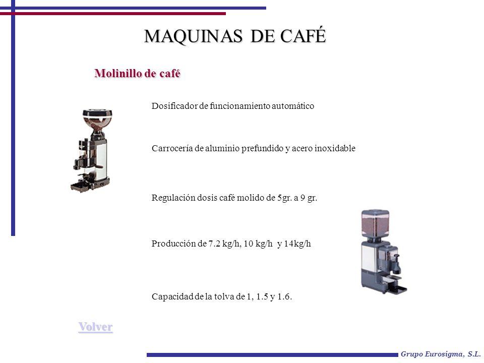 Grupo Eurosigma, S.L. Molinillo de café Capacidad de la tolva de 1, 1.5 y 1.6. MAQUINAS DE CAFÉ Dosificador de funcionamiento automático Carrocería de
