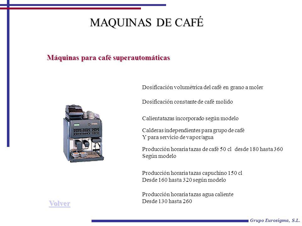 Grupo Eurosigma, S.L. Máquinas para café superautomáticas MAQUINAS DE CAFÉ Dosificación volumétrica del café en grano a moler Dosificación constante d