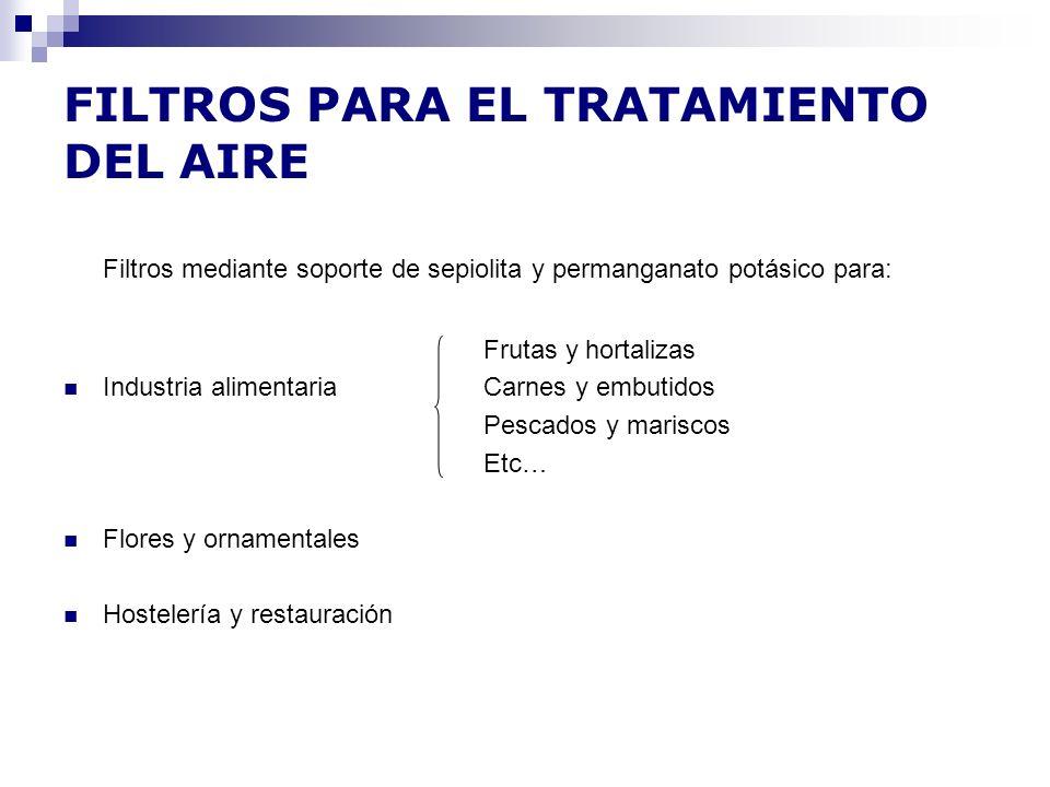 FILTROS PARA EL TRATAMIENTO DEL AIRE Filtros mediante soporte de sepiolita y permanganato potásico para: Frutas y hortalizas Industria alimentaria Car