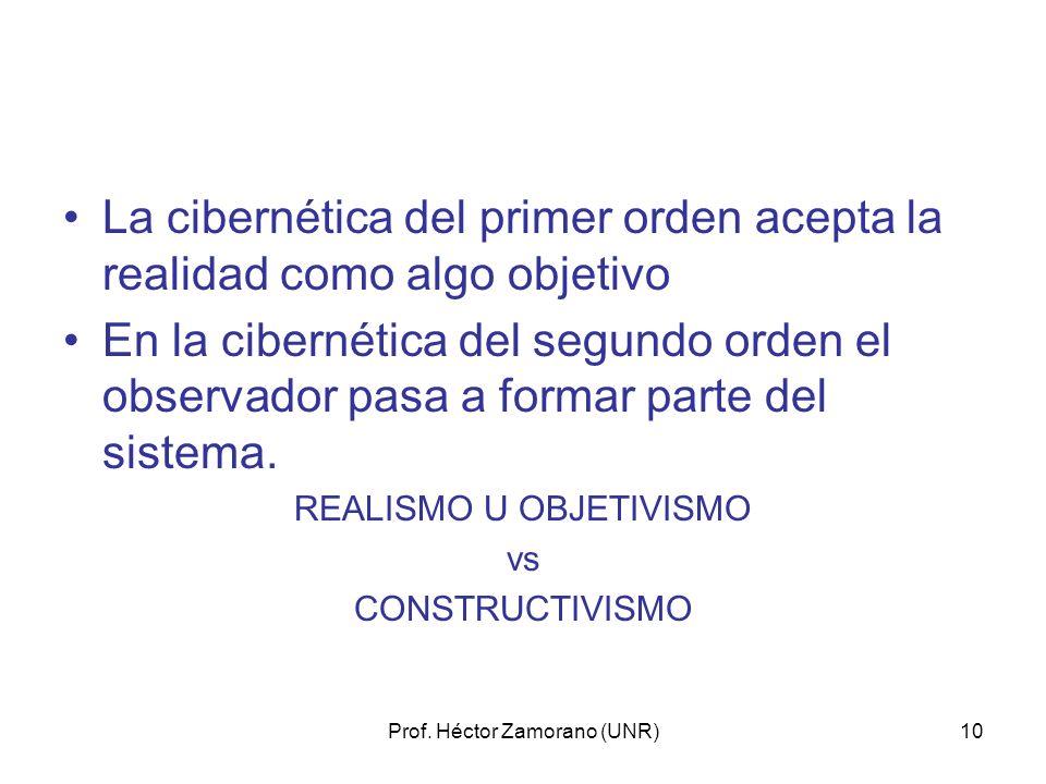Prof. Héctor Zamorano (UNR)10 La cibernética del primer orden acepta la realidad como algo objetivo En la cibernética del segundo orden el observador