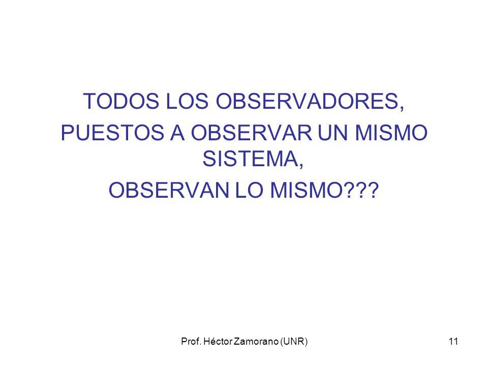 Prof. Héctor Zamorano (UNR)11 TODOS LOS OBSERVADORES, PUESTOS A OBSERVAR UN MISMO SISTEMA, OBSERVAN LO MISMO???