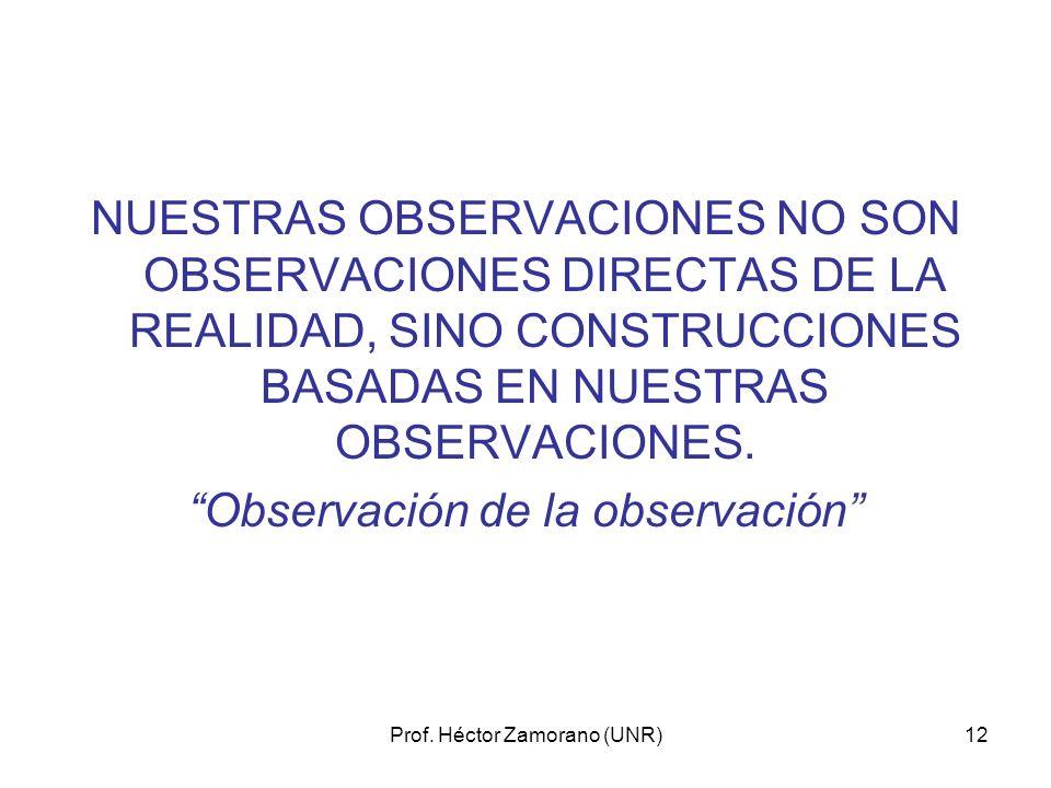 Prof. Héctor Zamorano (UNR)12 NUESTRAS OBSERVACIONES NO SON OBSERVACIONES DIRECTAS DE LA REALIDAD, SINO CONSTRUCCIONES BASADAS EN NUESTRAS OBSERVACION