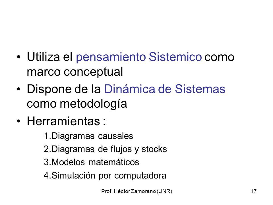 Prof. Héctor Zamorano (UNR)17 Utiliza el pensamiento Sistemico como marco conceptual Dispone de la Dinámica de Sistemas como metodología Herramientas