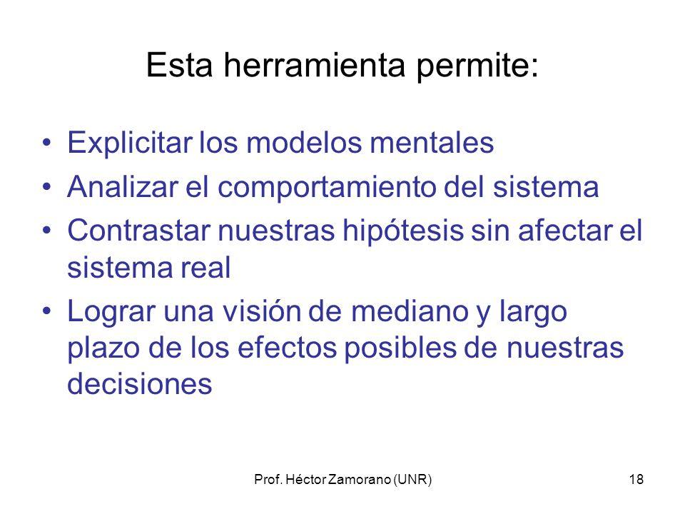 Prof. Héctor Zamorano (UNR)18 Esta herramienta permite: Explicitar los modelos mentales Analizar el comportamiento del sistema Contrastar nuestras hip
