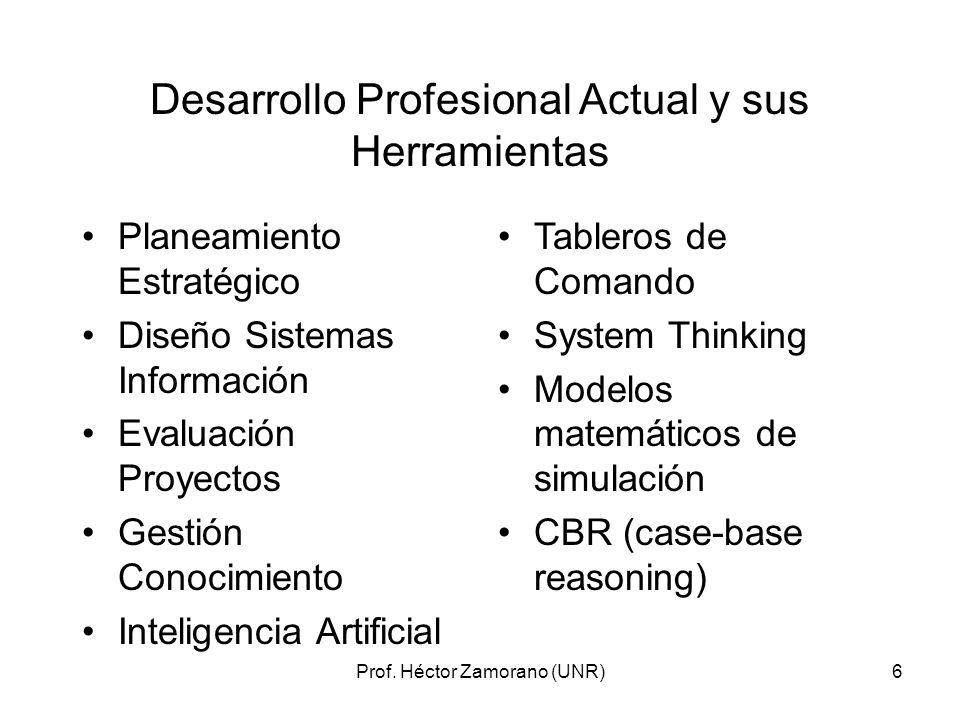 6 Desarrollo Profesional Actual y sus Herramientas Planeamiento Estratégico Diseño Sistemas Información Evaluación Proyectos Gestión Conocimiento Inte