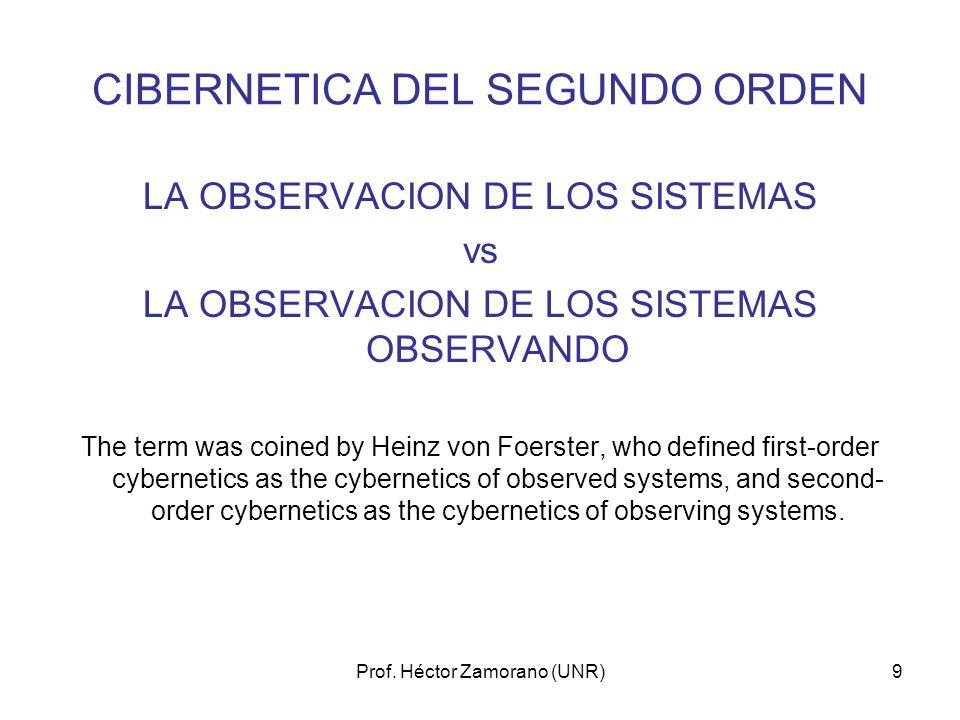 Prof. Héctor Zamorano (UNR)9 CIBERNETICA DEL SEGUNDO ORDEN LA OBSERVACION DE LOS SISTEMAS vs LA OBSERVACION DE LOS SISTEMAS OBSERVANDO The term was co