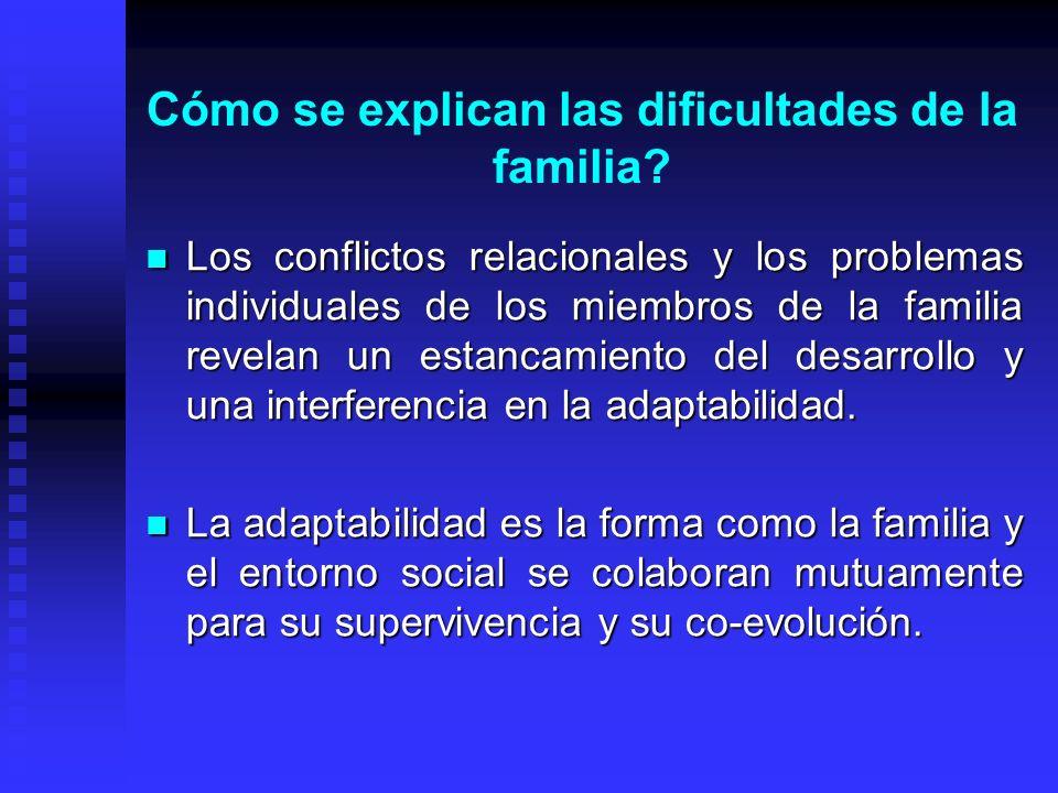 Cómo se explican las dificultades de la familia? Los conflictos relacionales y los problemas individuales de los miembros de la familia revelan un est