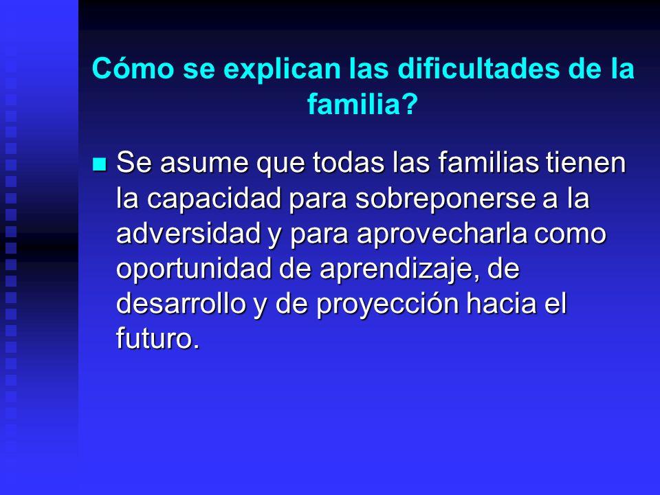 Cómo se explican las dificultades de la familia? Se asume que todas las familias tienen la capacidad para sobreponerse a la adversidad y para aprovech