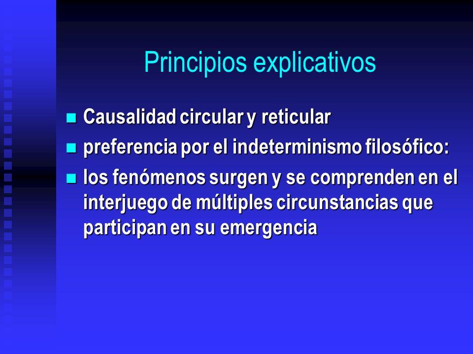 Principios explicativos Causalidad circular y reticular Causalidad circular y reticular preferencia por el indeterminismo filosófico: preferencia por