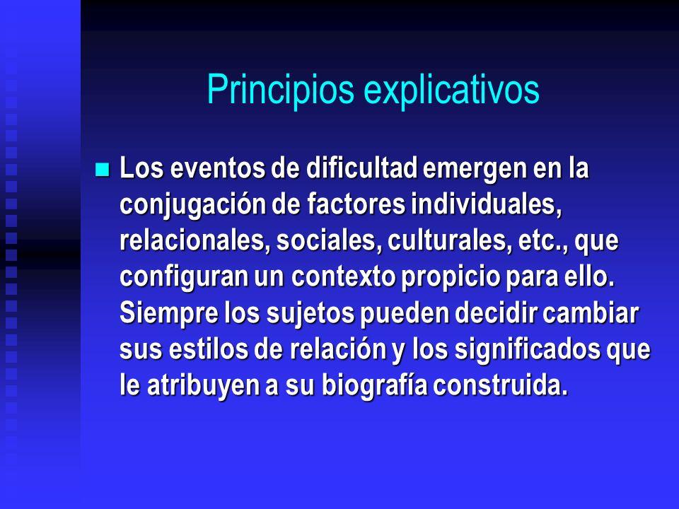 Principios explicativos Los eventos de dificultad emergen en la conjugación de factores individuales, relacionales, sociales, culturales, etc., que co