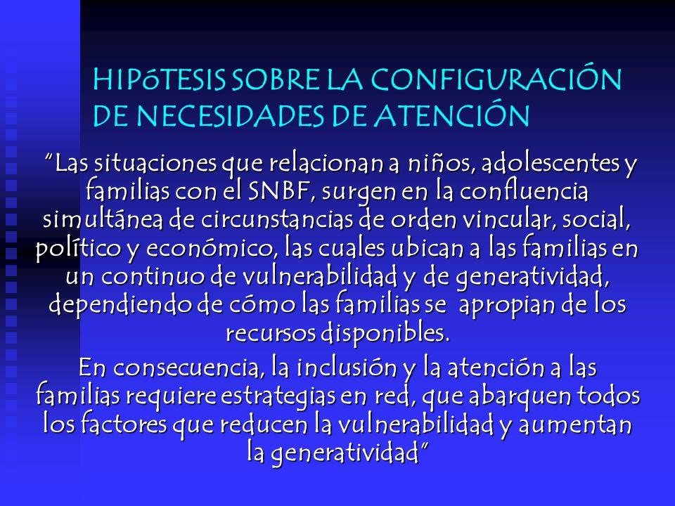 HIPóTESIS SOBRE LA CONFIGURACIÓN DE NECESIDADES DE ATENCIÓN Las situaciones que relacionan a niños, adolescentes y familias con el SNBF, surgen en la