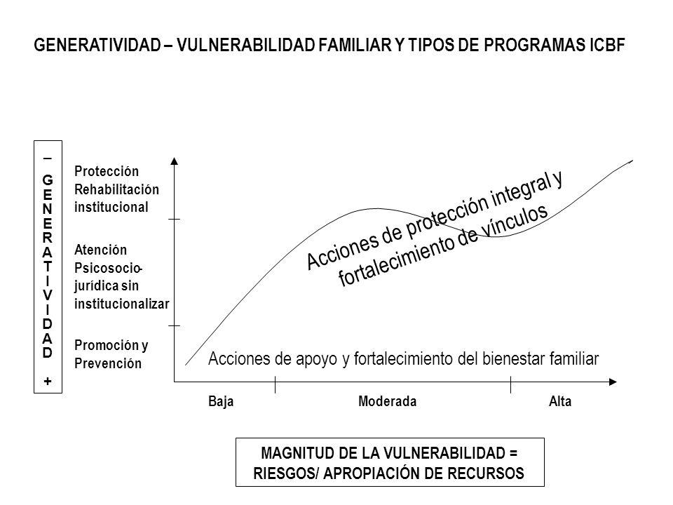 GENERATIVIDAD – VULNERABILIDAD FAMILIAR Y TIPOS DE PROGRAMAS ICBF MAGNITUD DE LA VULNERABILIDAD = RIESGOS/ APROPIACIÓN DE RECURSOS Promoción y Prevenc