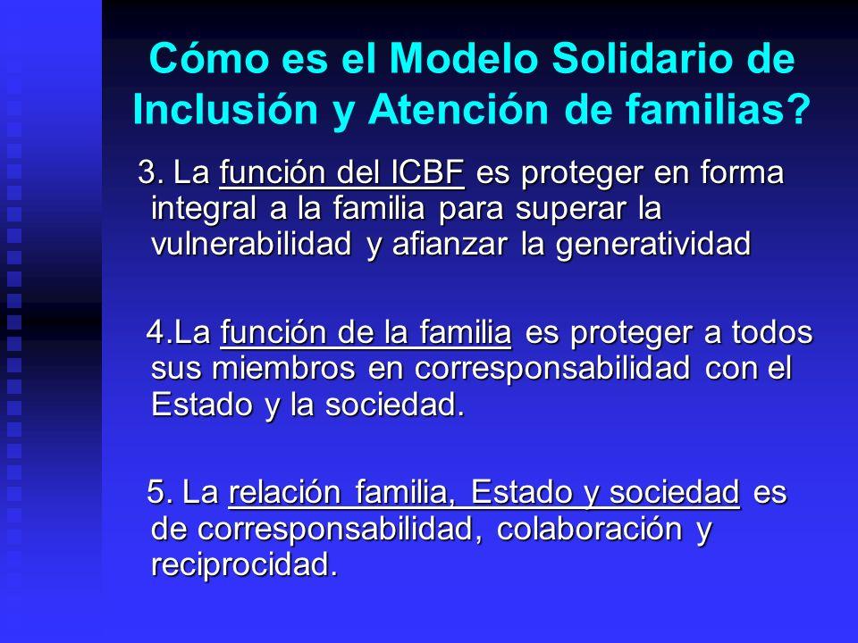 Cómo es el Modelo Solidario de Inclusión y Atención de familias? 3. La función del ICBF es proteger en forma integral a la familia para superar la vul