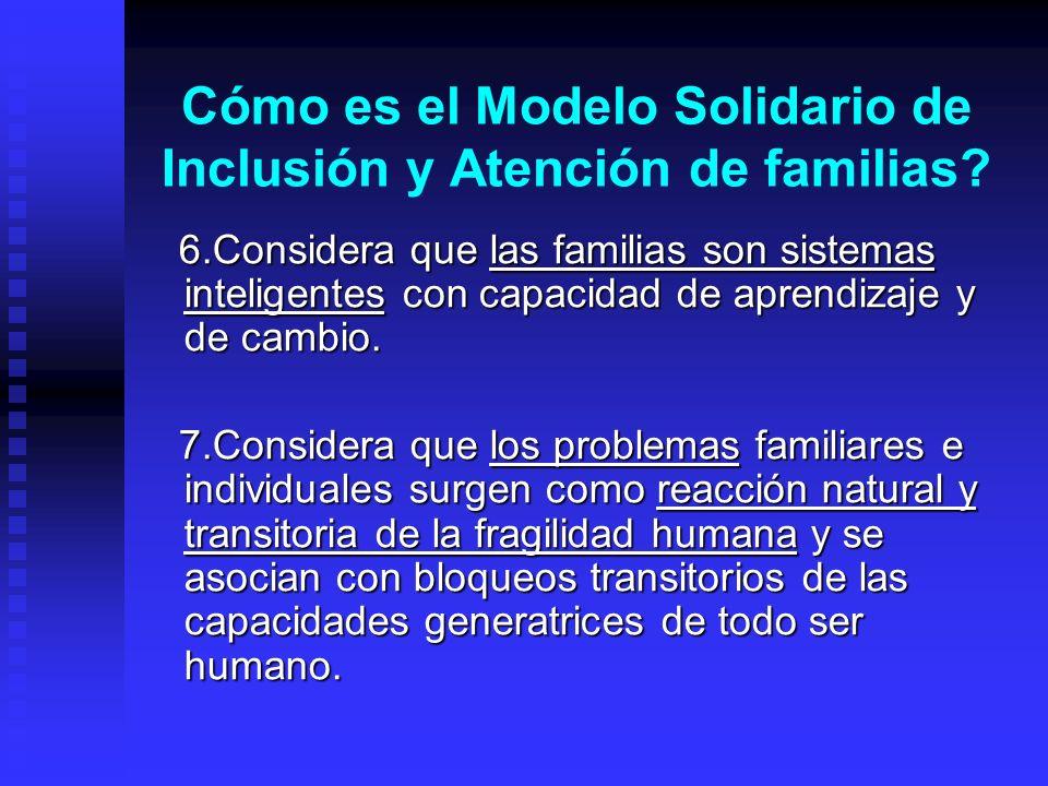 Cómo es el Modelo Solidario de Inclusión y Atención de familias? 6.Considera que las familias son sistemas inteligentes con capacidad de aprendizaje y