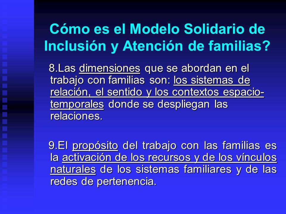 Cómo es el Modelo Solidario de Inclusión y Atención de familias? 8.Las dimensiones que se abordan en el trabajo con familias son: los sistemas de rela