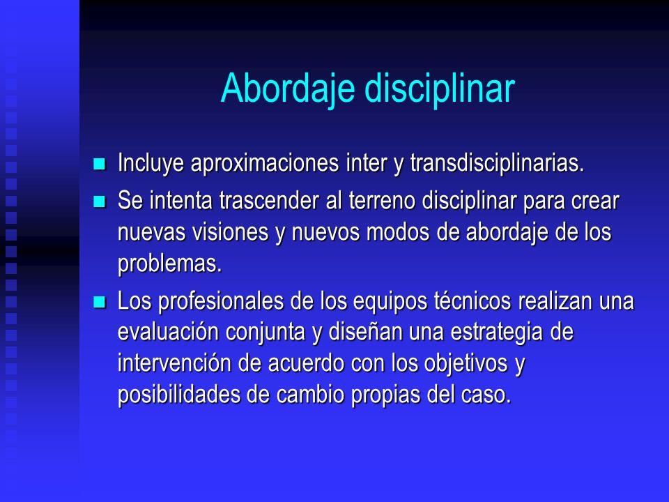 Abordaje disciplinar Incluye aproximaciones inter y transdisciplinarias. Incluye aproximaciones inter y transdisciplinarias. Se intenta trascender al