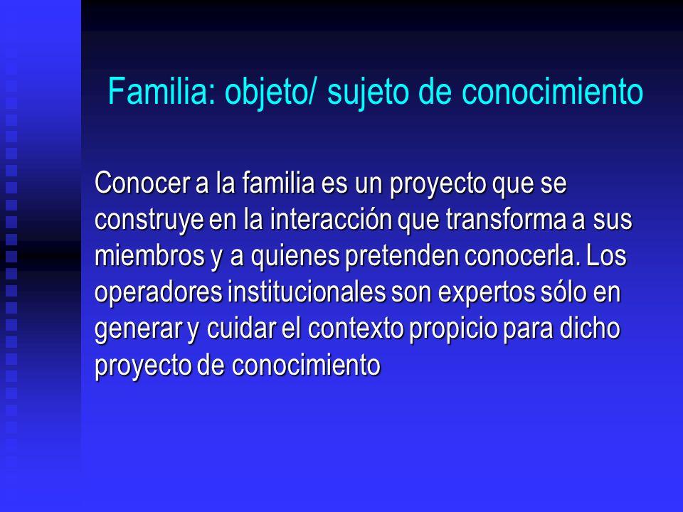 Familia: objeto/ sujeto de conocimiento Conocer a la familia es un proyecto que se construye en la interacción que transforma a sus miembros y a quien