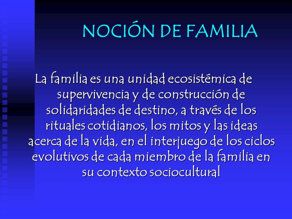 NOCIÓN DE FAMILIA La familia es una unidad ecosistémica de supervivencia y de construcción de solidaridades de destino, a través de los rituales cotid
