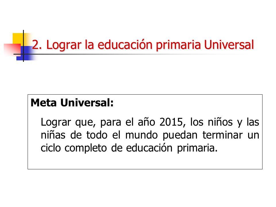 2. Lograr la educación primaria Universal Meta Universal: Lograr que, para el año 2015, los niños y las niñas de todo el mundo puedan terminar un cicl