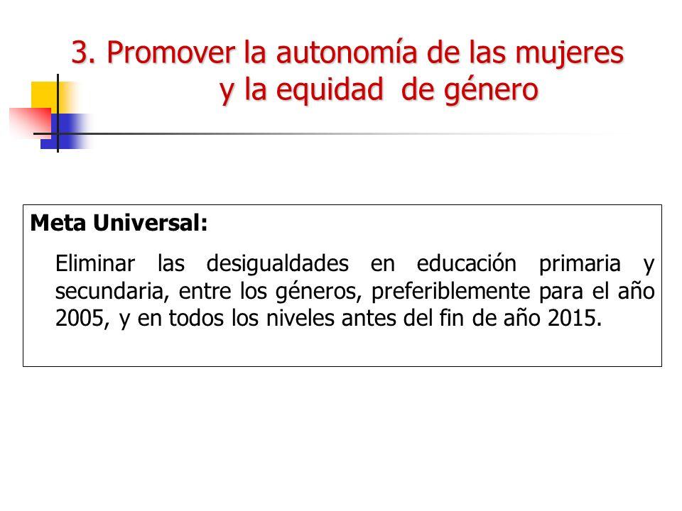 3. Promover la autonomía de las mujeres y la equidad de género Meta Universal: Eliminar las desigualdades en educación primaria y secundaria, entre lo