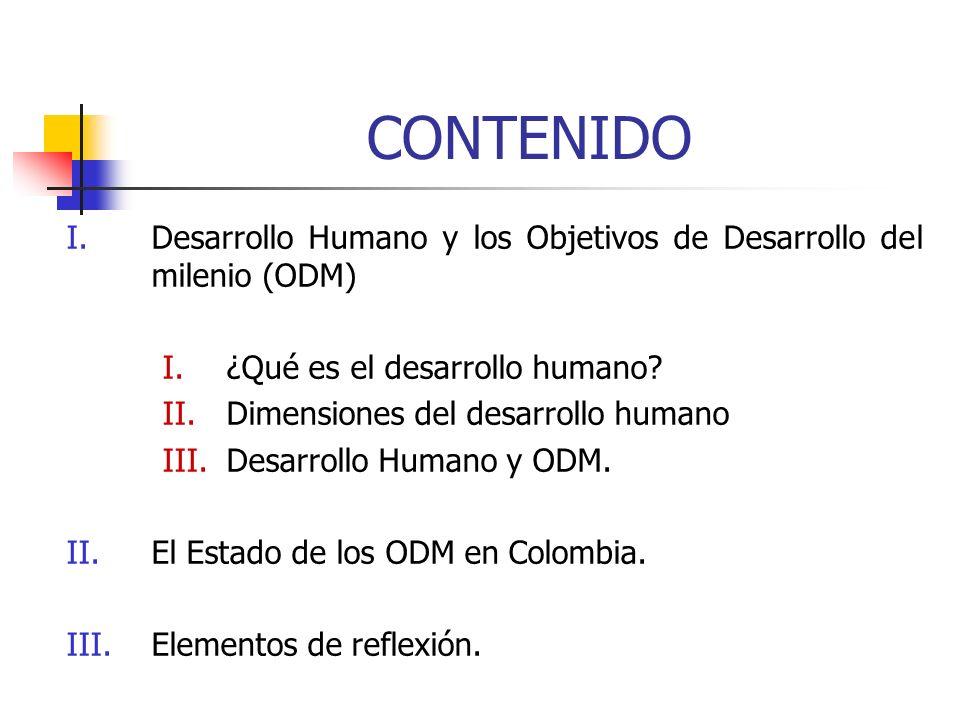 CONTENIDO I.Desarrollo Humano y los Objetivos de Desarrollo del milenio (ODM) I.¿Qué es el desarrollo humano? II.Dimensiones del desarrollo humano III